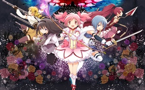 Picture weapons, magic, girls, Anime, dresses, Madoka Magic