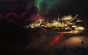 Picture space, ship, art, Warhammer 40000, craftworld