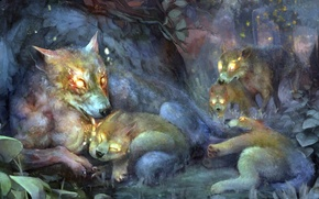 Picture forest, the game, twilight, art, wolves, the cubs, wolf, dragon's crown, crown of the dragon's …