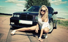Picture girl, Girls, BMW, glasses, black car