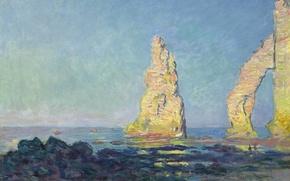 Picture sea, landscape, picture, Claude Monet, Needle rock at Etretat. Tide