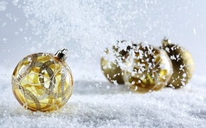 Picture snow, background, balls, yellow, Christmas