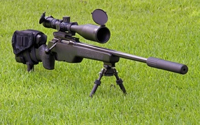 Wallpaper weapons, optics, sniper, rifle, SakoTRG-22, muffler, grass