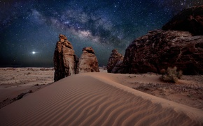 Picture sand, stars, stones, desert, The milky way