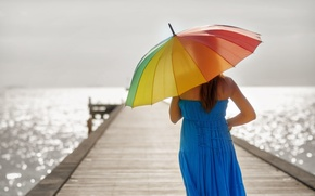 Picture sea, color, water, girl, the sun, rays, glare, reflection, umbrella, background, Wallpaper, blue, mood, woman, ...