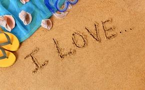 Picture beach, sand, i love