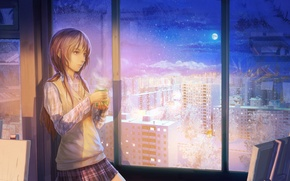 Picture winter, girl, snow, night, the city, tea, the moon, figure, window, art, mug, easel, arsenixc
