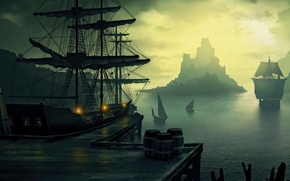 Picture sea, rocks, ships, port, sails
