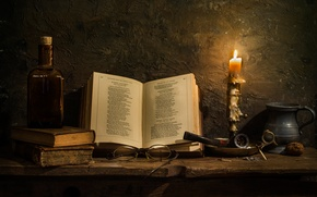 Picture candle, tube, glasses, book, Poetry