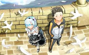 Picture girl, anime, art, pigeons, guy, Subaru, embarrassment, Re: Zero kara hajime chip isek or Seikatsu, …