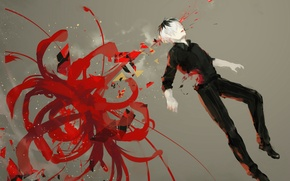 Picture flower, art, Anime, guy, Anime, Tokyo Ghoul, Tokyo To, Tokyo Ghoul, Sasaki Smell