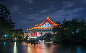 Picture the sky, clouds, trees, night, pond, the building, garden, lighting, Taiwan, architecture, the bridge, blue, …