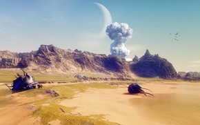 Picture sand, the sky, mountains, the explosion, planet, disaster, No survivors