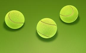 Wallpaper abstraction, green, background, art, three, tennis, tennis, 3d., ball