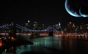 Wallpaper the sky, night, bridge, river, the moon