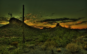 Picture sunset, mountains, desert, HDR, cactus, Mexico