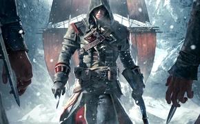 Picture snow, weapons, ship, ice, hands, hood, Templar, sails, killer, swords, Ubisoft, Shay Patrick Cormac, Assassin's …