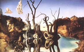 Picture surrealism, picture, artist, swans, Salvador Dali, reflecting in elephants, Salvador Dali, 1937, painter