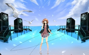Picture sea, the sky, water, girl, clouds, seagulls, anime, headphones, art, wire, steps, the king the …