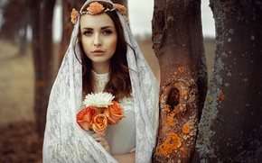 Picture look, girl, flowers, background, bouquet, lips, fabric, brown hair