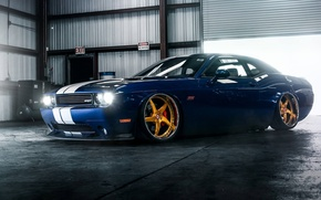 Picture Muscle, Dodge, Challenger, Car, Hellcat, SRT, Gold, Low, Wheels