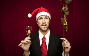 Picture new year, champagne, in the header, Christmas background, with a glass of, the guy in …