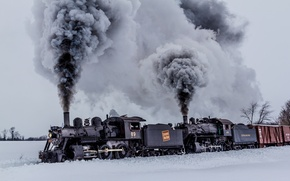 Picture winter, nature, smoke, cars, trains, locomotives
