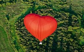 Picture flight, landscape, balloon, basket, heart