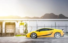Picture mountains, wall, Lamborghini, Superleggera, Gallardo, Blik, yellow, Lamborghini, yellow, road sign, Lamborghini, Gallardo, Superleggera