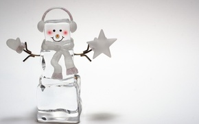 Picture ice, smile, background, Wallpaper, hat, wallpaper, snowman, new year, widescreen, background, full screen, HD wallpapers, ...