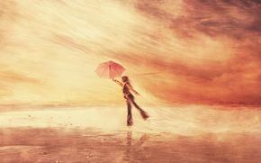 Wallpaper the wind, people, umbrella