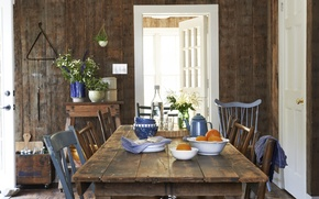 Picture interior, dining room, country house, farm style