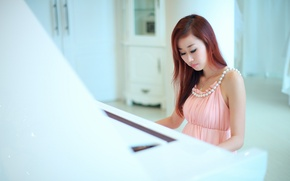 Picture music, girl, piano, Asian