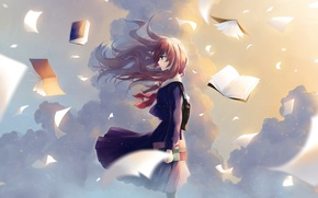 Picture the sky, clouds, the wind, books, red, schoolgirl, sheets, satchel, sailor