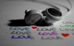 Wallpaper love, black and white, Headphones