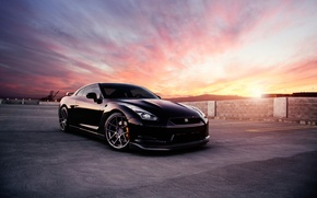 Picture car, black, Nissan, Nissan GT-R