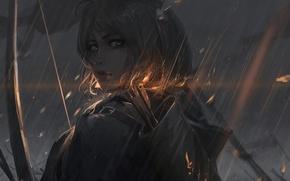 Picture look, rain, Archer, Art, rain, archer, guweiz