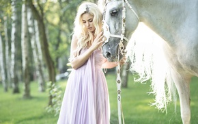 Picture girl, horse, horse, dress