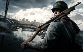 Picture war, soldiers, rifle, Electronic Arts, Battlefield 1