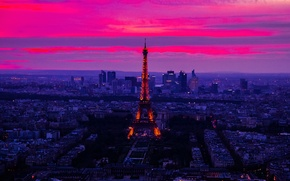 Picture the sky, clouds, sunset, night, lights, France, Paris, tower, panorama, glow