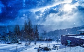 Picture the sky, clouds, snow, trees, the building, Winter, benches