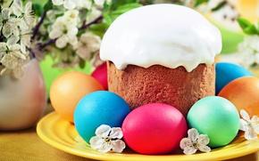 Picture flowers, eggs, spring, Easter, cake, glaze, Easter, eggs