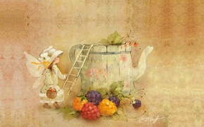 Picture autumn, mood, kettle, harvest, girl, children's, Catherine Attendants