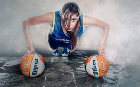 Picture girl, sport, balls, training