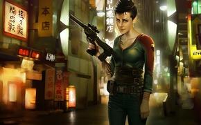 Picture girl, the city, gun, fiction, street, art, killer