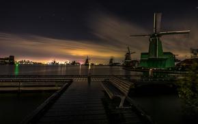 Picture night, channel, Netherlands, bench, windmill, The Zaanse Schans