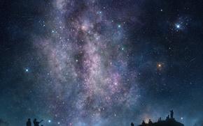 Picture the sky, stars, night, people, silhouette, art, tsujiki
