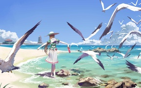 Picture sea, summer, the sky, stones, shore, back, seagulls, wings, hat, pagoda, red, schoolgirl, straw