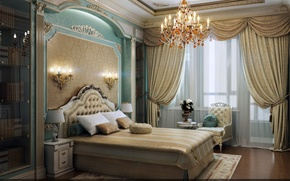 Picture chandelier, curtains, bedroom