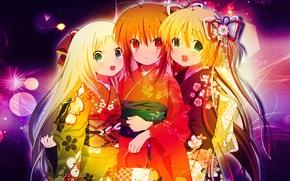 Picture holiday, girls, Kawai, girlfriend, nyashki, fighting anime, three girlfriends at the Desk